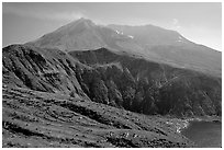 View of the crater. Mount St Helens National Volcanic Monument, Washington ( black and white)