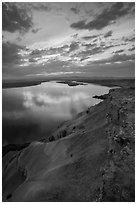 Columbia River from top of White Bluffs at sunset, Wahluke Unit, Hanford Reach National Monument. Washington ( black and white)