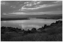 Columbia River, sunset, Hanford Reach National Monument. Washington ( black and white)