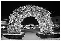 Antler arch and galleries by night in winter. Jackson, Wyoming, USA (black and white)
