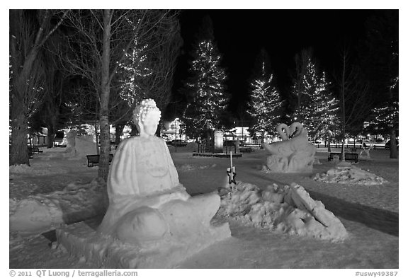 Ice sculptures on Town Square by night. Jackson, Wyoming, USA