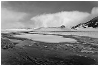 Stream in winter, National Elk Refuge. Jackson, Wyoming, USA (black and white)