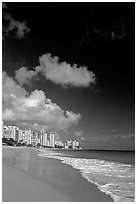 Beach and high-rise buildings, morning. San Juan, Puerto Rico (black and white)
