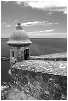 Lookout turret and ocean, El Castillo Del Morro Fortress. San Juan, Puerto Rico (black and white)