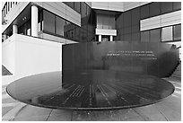 Table with names of 40 people who gave lives for racial equity, Civil Rights Memorial. Montgomery, Alabama, USA ( black and white)
