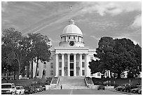 Alabama Capitol and street. Montgomery, Alabama, USA ( black and white)