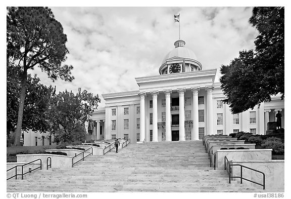 Stairs with man walking up, Alabama State Capitol. Montgomery, Alabama, USA (black and white)