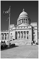 Arkansas Capitol with woman carrying briefcase. Little Rock, Arkansas, USA (black and white)