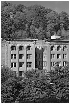 Historic buildings below hillside. Hot Springs, Arkansas, USA (black and white)