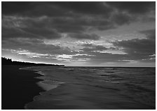 Gulf beach at sunrise, Sanibel Island. Florida, USA ( black and white)