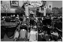 Strollers parked, Walt Disney World. Orlando, Florida, USA ( black and white)