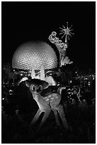 Bambi and Epcot sphere by night, Walt Disney World. Orlando, Florida, USA ( black and white)
