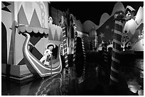 Indoor boat ride, Magic Kingdom, Walt Disney World. Orlando, Florida, USA (black and white)