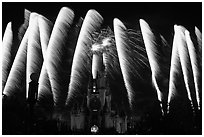 Cinderella Castle with fireworks. Orlando, Florida, USA ( black and white)