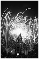 Fireworks over fairy-tale fortress. Orlando, Florida, USA ( black and white)