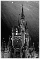 Illuminated Cinderella Castle, fireworks. Orlando, Florida, USA (black and white)