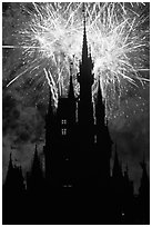 Cinderella Castle at night with fireworks in sky. Orlando, Florida, USA ( black and white)