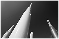 Space rockets, NASA. Cape Canaveral, Florida, USA (black and white)