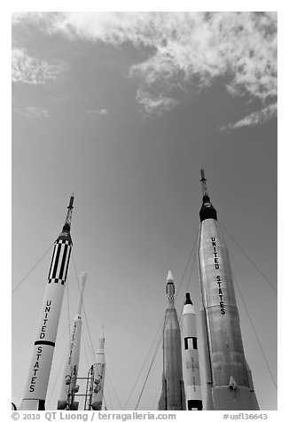 NASA rockets, Kennedy Space Centre. Cape Canaveral, Florida, USA (black and white)