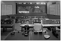 Control room, NASA, Kennedy Space Center. Cape Canaveral, Florida, USA (black and white)
