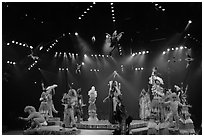 Colorful cast of characters, Circus show, Walt Disney World. Orlando, Florida, USA (black and white)