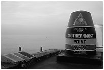 Marker for Southermost point in continental US. Key West, Florida, USA (black and white)