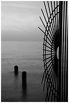 Grid at sunrise and ocean. Key West, Florida, USA (black and white)