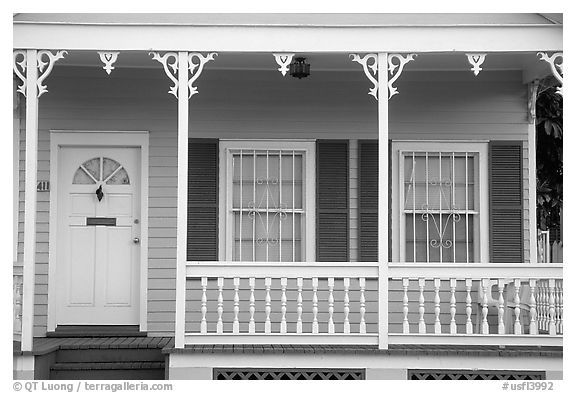 Pastel-colored pink porch. Key West, Florida, USA (black and white)