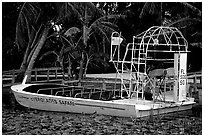 Airboat. Florida, USA (black and white)