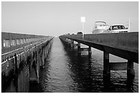 Abandonned and current Seven-mile bridges. The Keys, Florida, USA (black and white)