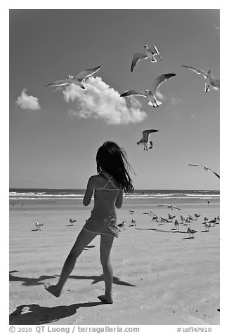 Girl playing with seabirds, Jetty Park beach. Cape Canaveral, Florida, USA