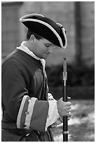 Period dressed Spanish soldier. St Augustine, Florida, USA ( black and white)