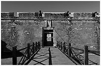 Entrance, Castillo de San Marcos Spanish Fort. St Augustine, Florida, USA ( black and white)