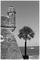 Corner bastion of the Spanish built fort and walls made of coquina masonry units. Castillo de San Marcos National Monument. St Augustine, Florida, USA ( black and white)