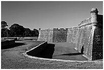 Coquina walls of historic fort, Castillo de San Marcos National Monument. St Augustine, Florida, USA (black and white)