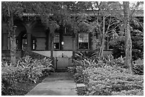 Lush gardens, Flagler College. St Augustine, Florida, USA ( black and white)