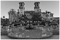 City Hall, formerly Hotel Alcazar. St Augustine, Florida, USA (black and white)