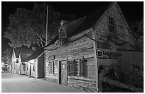 Oldest school house and street by night. St Augustine, Florida, USA ( black and white)