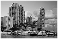 Marina and high rise buildings at sunset, Miami Beach. Florida, USA (black and white)