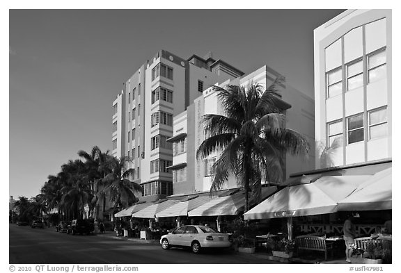 Row of hotels in Art Deco Style, Miami Beach. Florida, USA