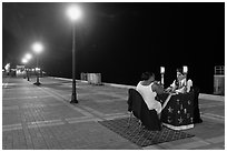 Fortune teller at night, Mallory Square. Key West, Florida, USA ( black and white)