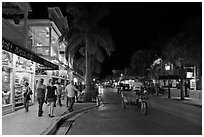Street at night. Key West, Florida, USA (black and white)