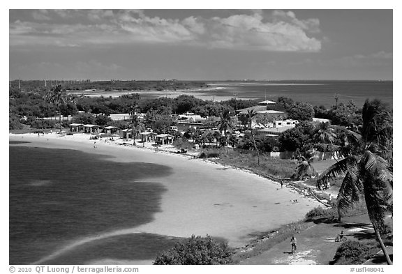 Panoramic view of Bahia Honday Key and Bahia Honda State Park. The Keys, Florida, USA (black and white)
