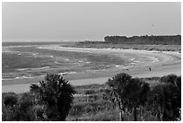 Beach at sunset, Fort De Soto Park. Florida, USA (black and white)