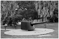 Artillery turret, Fort De Soto Park. Florida, USA (black and white)