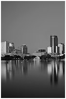 Night skyline. Orlando, Florida, USA ( black and white)