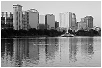 High rise buildings and fountain, lake Eola. Orlando, Florida, USA ( black and white)