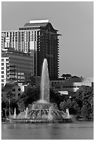 Fountain, Lake Eola, Sumerlin Park. Orlando, Florida, USA ( black and white)