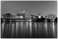 Night skyline from Lake Lucerne. Orlando, Florida, USA ( black and white)