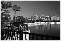 Lake Lucerne, palm trees, and downtown skyline. Orlando, Florida, USA ( black and white)